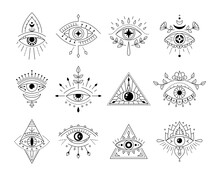 Vector Collecton Line Art Mystic Eyes Tattoo. Set Of Providence Sight Witchcraft Symbol. Evil Eye Amulet Geometric Ornament. Esoteric Sign. Boho Design. Sacred Geometry, Occultism, Mystical.
