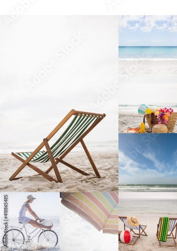 Composition of five beach and seaside images with deckchair and woman riding bicycle