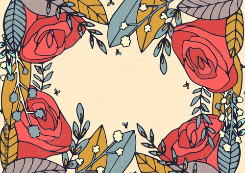 Illustration of red roses and flowers forming frame with copy space on cream background