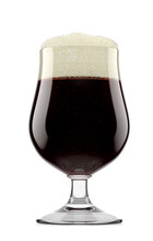 Frosty Glass Of Fresh Stout Beer With Bubble Froth Isolated On White Background.