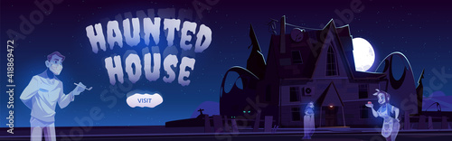 Foto Haunted house cartoon web banner, online invitation to Halloween party