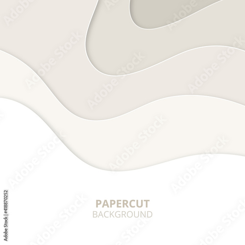 Photo 3D abstract background with light paper cut shapes
