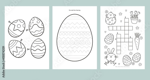 Obraz Easter Coloring Pages Printable and worksheet. Easter Activities for Kids, Easter Party, Easter Games. - fototapety do salonu