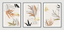 Botanical Wall Art Vector Set. Golden Foliage Line Art Drawing With Watercolor.  Abstract Plant Art Design For Wall Framed Prints, Canvas Prints, Poster, Home Decor, Cover, Wallpaper.