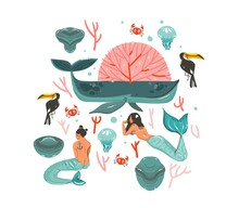Hand Drawn Vector Abstract Cartoon Graphic Summer Time Underwater Illustrations Set With Coral Reefs,crab,jellyfish,stones And Beauty Bohemian Mermaid Girls Characters Isolated On White Background
