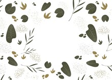 Background With Plants. Modern, Vector Illustration With Elements Of Nature On A White Background. Trendy Botanical Design For Fabric Or Wallpaper. Scandinavian Illustration. Place For An Inscription.