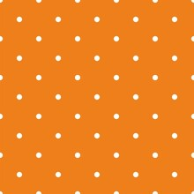 Tile Vector Pattern With Small White Polka Dots On Orange Background For Seamless Decoration Wallpaper