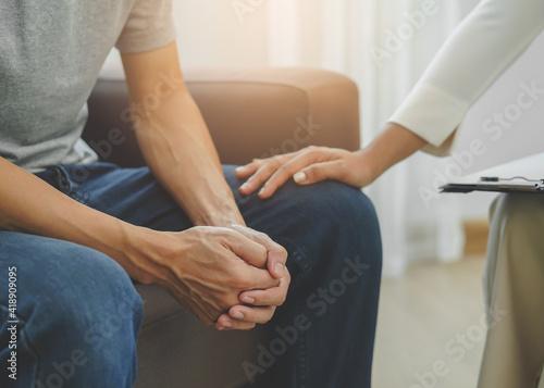Tablou Canvas stressed man consultation a psychologist about mental health problem