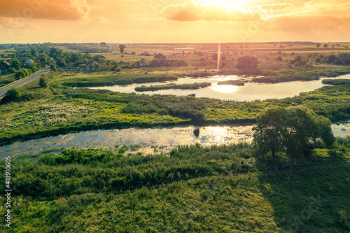 Canvas Aerial view of the brook on the meadow