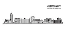 Cityscape Building Abstract Simple Shape And Modern Style Art Vector Design -  Allenttown City