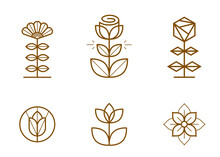 Geometric Linear Style Vector Flower Logos Or Emblems Set, Sacred Geometry Floral Symbols Line Drawing Emblems Collection, Blossoming Flower Hotel Or Boutique Or Jewelry Logotypes.