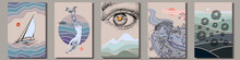 Set Of Artistic Hand-drawn Graphic Posters. Sailing Yacht, Mermaids, Eye Over Mountain And Abstract Art. Vector Illustration