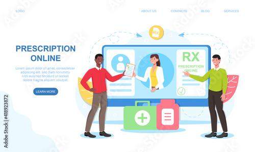 Photo Female doctor writing RX prescription form online