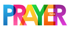 PRAYER Colorful Vector Typography Banner Isolated On White Background