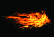 Fire Flames Black Background Psd