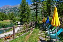 Tourist Resort On Lake Laux In Piedmont Italy.