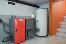 Boiler Room - Home Heating System, 3D Illustration