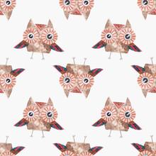 Seamless Watercolor Pattern Cartoon Owl. Cute Cartoon Bird. Ornament For Printing On Children's Fabric, Wallpaper, Packaging
