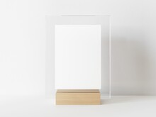 Vertical Rectangle White Menu With Transparent Frame On A Light Wood Stand. Card Display Promotion And Information For Customer, Picture Stand,sign Holder And Photo Frame Template. 3D Illustration