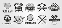 Set Of Vector Carpentry Woodwork Vintage Logo Craftsman Symbol Illustration Design