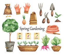 Watercolor Gardening Clipart, Garden Tools Isolated, Hand Drawn Illustration, Spring Time, Garden Work, Seedling, Pots, Hose, Farm Elements Set Watercolor