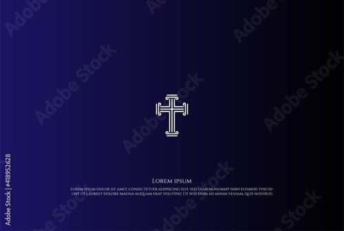 Fotografie, Obraz Vintage Jesus Christian Cross Church Chapel Logo Design Vector