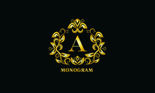 Stylish Design For Invitations, Menus, Labels. Elegant Gold Monogram On A Black Background With The Letter A. The Logo Is Identical For A Restaurant, Hotel, Heraldry, Jewelry.