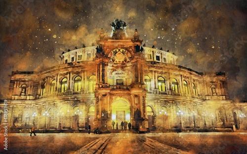 Obraz na plátně Watercolor painting of Dresden Semperoper opera house (Germany)