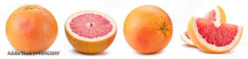 Fotografiet Grapefruit collection isolated. Grapefruit isolated on white