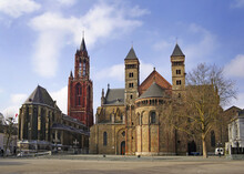 The Basilica Of Saint Servatius. The Architecturally Hybrid But Mainly Romanesque Church Is Situated Onto The Town's Main Square, Vrijthof, Maastricht, Netherlands