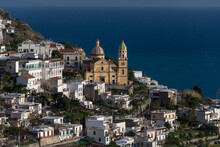 The Renaissance San Gennaro Church In The Center Of The Town Of Praiano On Italy's Amalfi Coast.