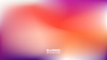 Blurred Background With Modern Abstract Blurred Violet And Orange Gradient. Smooth Template For Your Graphic Design. Vector Illustration.