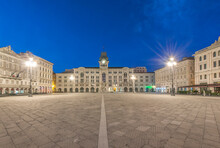 The Empty Piazza Of Unity Of Italy Square, Trieste, Historic Buildings.