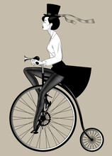 Woman In Hat With Open Sexy Legs In Dark Tights Riding A Retro Bicycle. Vintage Fashion Engraving Stylized Drawing