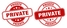Private Stamp. Private Label. Round Grunge Sign