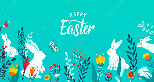 Happy easter greeting frame banner background with paper cut bunnies, flowers, grass, butterfly Wallpaper Mural