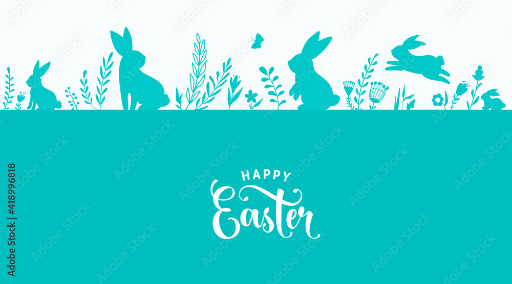 Fototapeta Easter border design vector illustration. Holiday pattern with blue bunnies, flowers, plants, butterfly silhouettes isolated on white background. Text greeting sign. Simple flat style