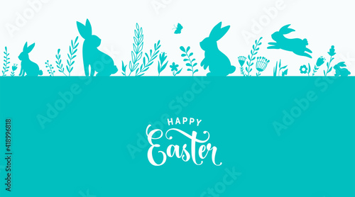 Obraz Easter border design vector illustration. Holiday pattern with blue bunnies, flowers, plants, butterfly silhouettes isolated on white background. Text greeting sign. Simple flat style - fototapety do salonu
