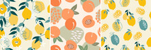A Set Of Artistic Seamless Patterns With Abstract Fruits. Flowers, Shapes, Leaves, Lemons And Pears, Peaches Of Yellow And Blue Colors. Vector Illustration.
