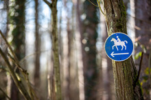 Horse Way Sign In A Forest, To Mark The Way Horse Riders Are Allowed To Use