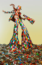 Female Circus Master Dressed In A Colorful Suit And Holding A Megaphone, Standing In The Middle Of A Bunch Of Color Samples