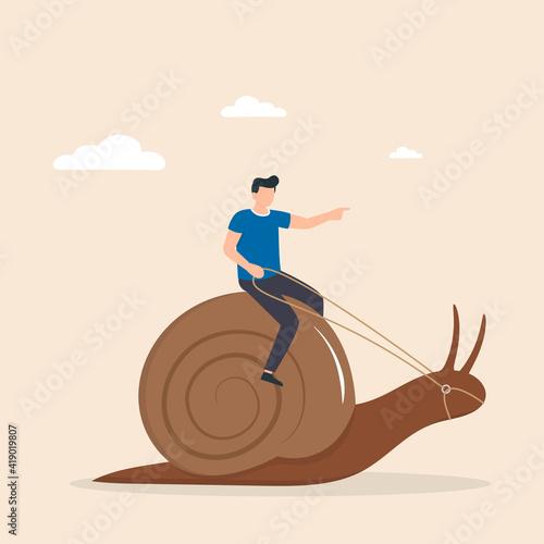 Canvas Print Man, riding snail, giving it commands
