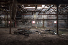 Interior View Inside An Abandoned Factory Building
