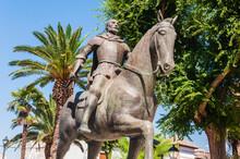 Statue Of Conqueror Diego De Almagro In The Plaza Mayor. Ciudad Real, Spain