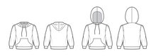 Set Of Hoody Sweatshirt Technical Fashion Illustration With Elbow Sleeves, Relax Body, Kangaroo Pouch, Banded Hem, Drawstring. Flat Apparel Template Front, Back, White Color. Women, Unisex CAD Mockup