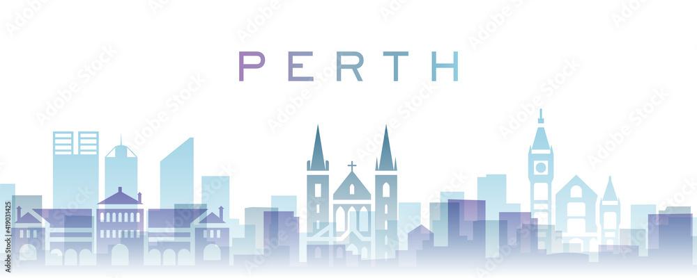 Fototapeta Perth Transparent Layers Gradient Landmarks Skyline