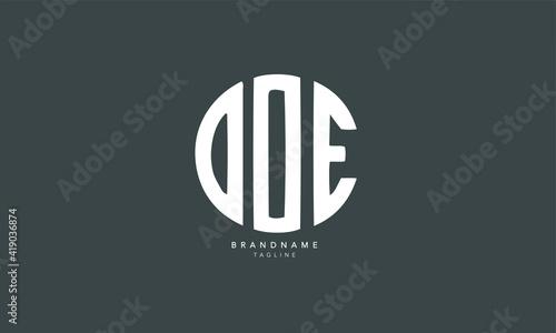 Photo Alphabet letters Initials Monogram logo DOE, DO, OE