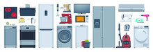 Flat Appliances Set Refrigerator Washer Stove Other Illustration Collection