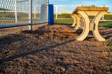 Dugout Bench Behind Baseball Home Plate