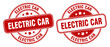 electric car stamp. electric car label. round grunge sign